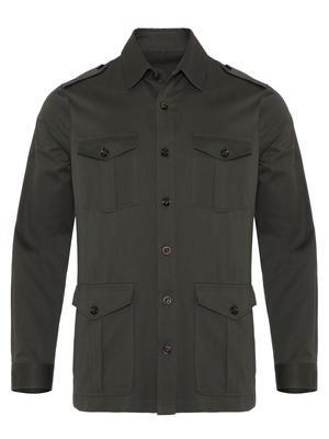 Germirli - Germirli Haki Twill Tailor Fit Kaşmir Ceket Gömlek