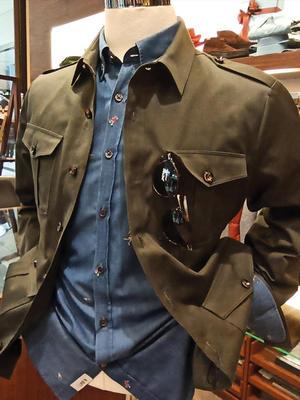 Germirli - Germirli Haki Twill Tailor Fit Kaşmir Ceket Gömlek (1)