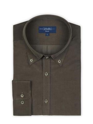 Germirli - Germirli Haki Yeşili Kadife Düğmeli Yaka Tailor Fit Gömlek (1)