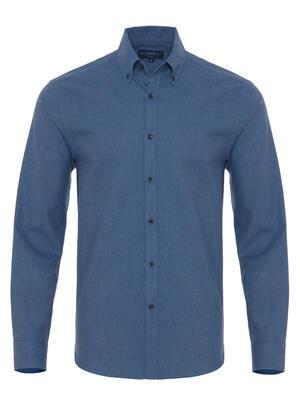 Germirli - Germirli Havacı Mavi Flanel Düğmeli Yaka Tailor Fit Gömlek