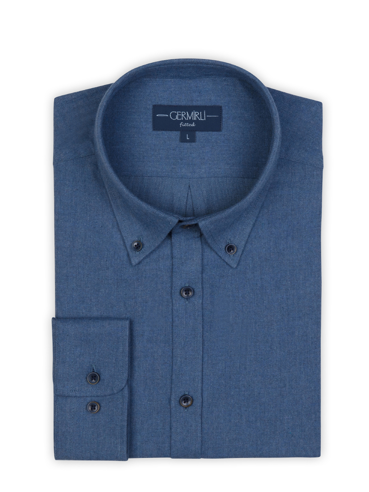 Germirli Havacı Mavi Flanel Düğmeli Yaka Tailor Fit Gömlek