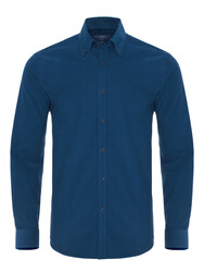 Germirli - Germirli Havacı Mavi Kadife Düğmeli Yaka Tailor Fit Gömlek