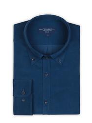 Germirli - Germirli Havacı Mavi Kadife Düğmeli Yaka Tailor Fit Gömlek (1)