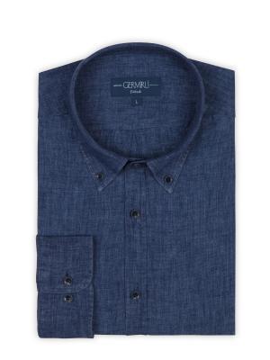 Germirli - Germirli Indigo Lacivert Delave Keten Düğmeli Yaka Tailor Fit Gömlek (1)