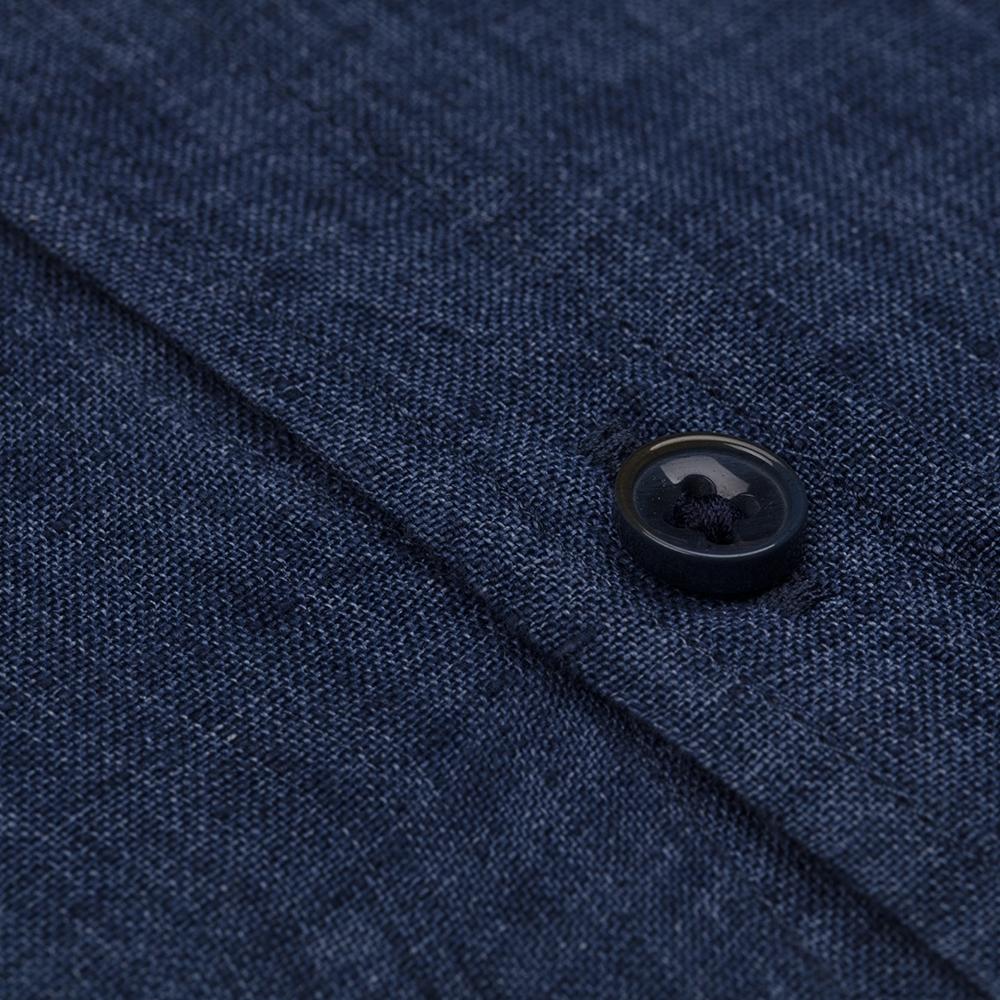 Germirli Indigo Lacivert Delave Keten Düğmeli Yaka Tailor Fit Gömlek
