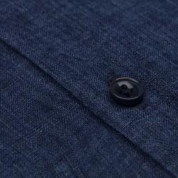 Germirli Indigo Lacivert Delave Keten Düğmeli Yaka Tailor Fit Gömlek - Thumbnail