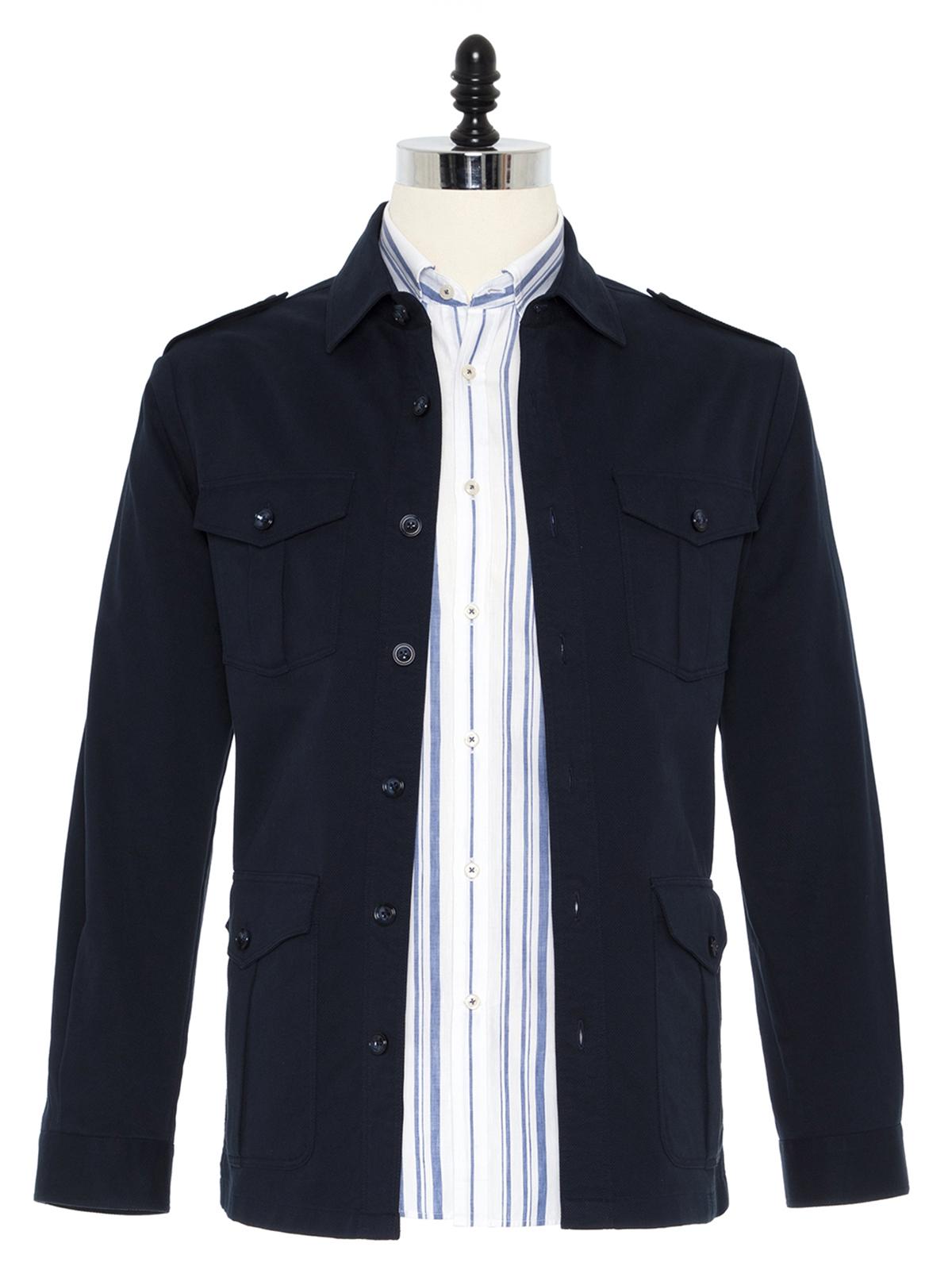 Germirli İndigo Lacivert Tailor Fit Ceket Gömlek
