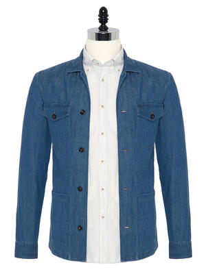 Germirli - Germirli İndigo Mavi Denim Tailor Fit Ceket Gömlek