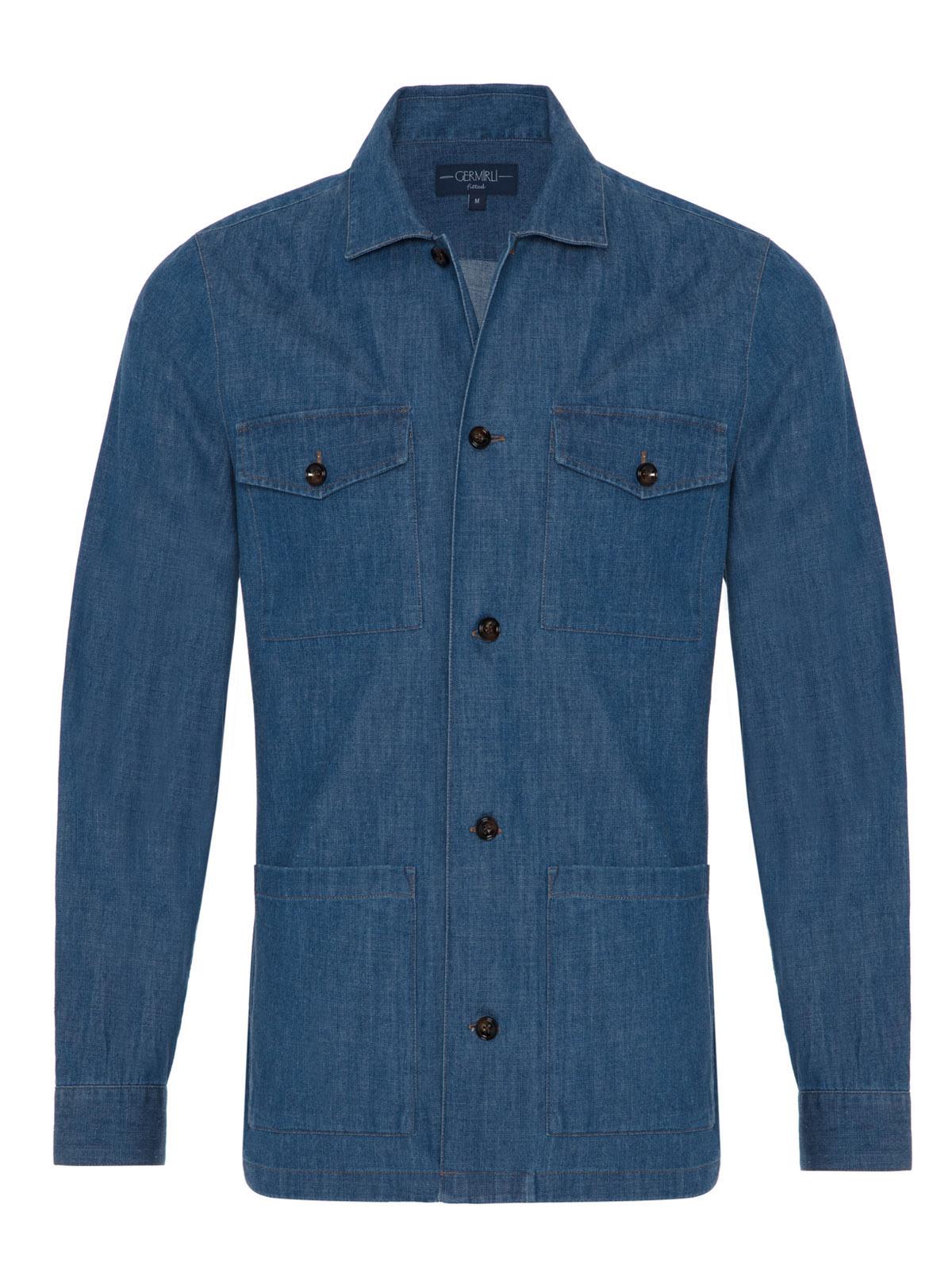 Germirli İndigo Mavi Denim Tailor Fit Ceket Gömlek