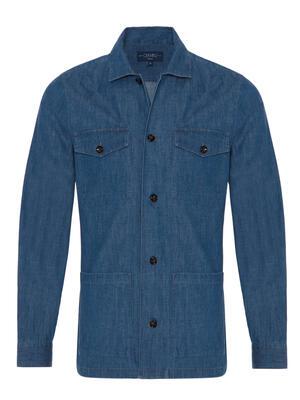 Germirli - Germirli İndigo Mavi Denim Tailor Fit Ceket Gömlek (1)