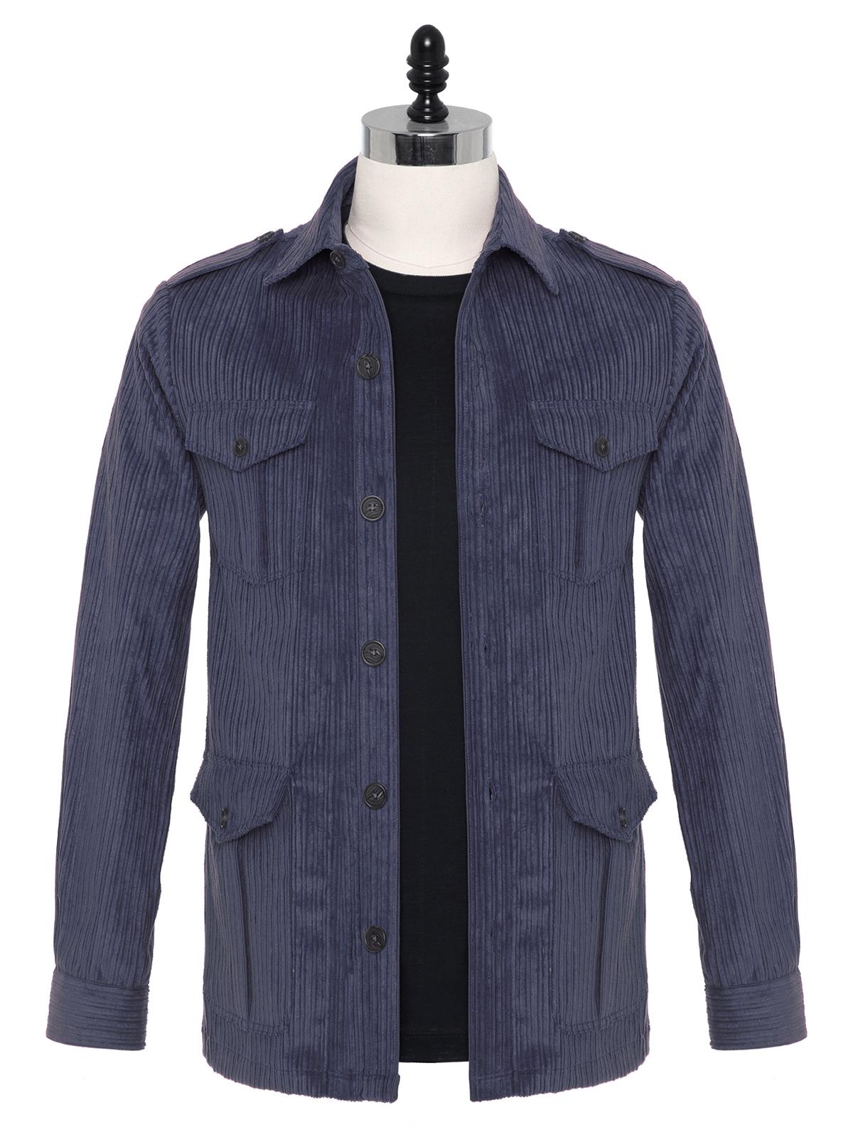 Germirli - Germirli Indigo Mavi Kalın Fitilli Tailor Fit Ceket Gömlek