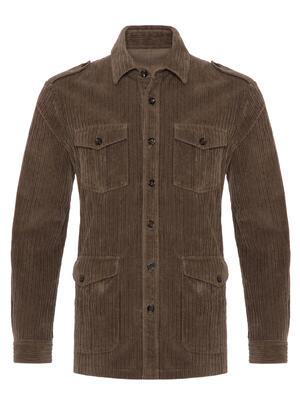 Germirli - Germirli Kahve Kalın Fitilli Tailor Fit Ceket Gömlek (1)