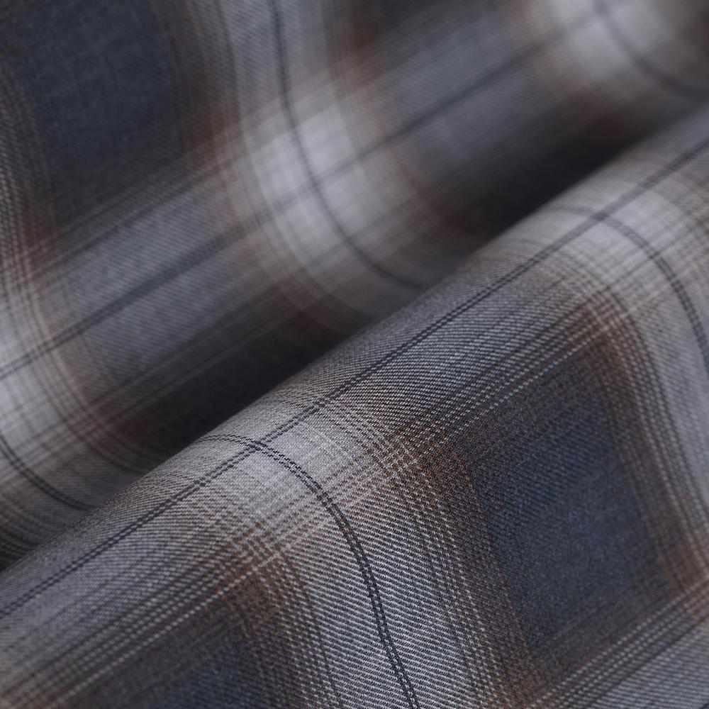 Germirli Kahverengi Gri Lacivert Kareli Tailor Fit Gömlek