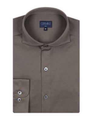 Germirli - Germirli Kahverengi KlasikÖrme Yaka Slim Fit Gömlek (1)
