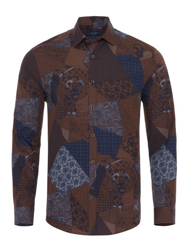 Germirli - Germirli Kahverengi Lacivert Patchwork Desenli Düğmeli Yaka Tailor Fit Gömlek