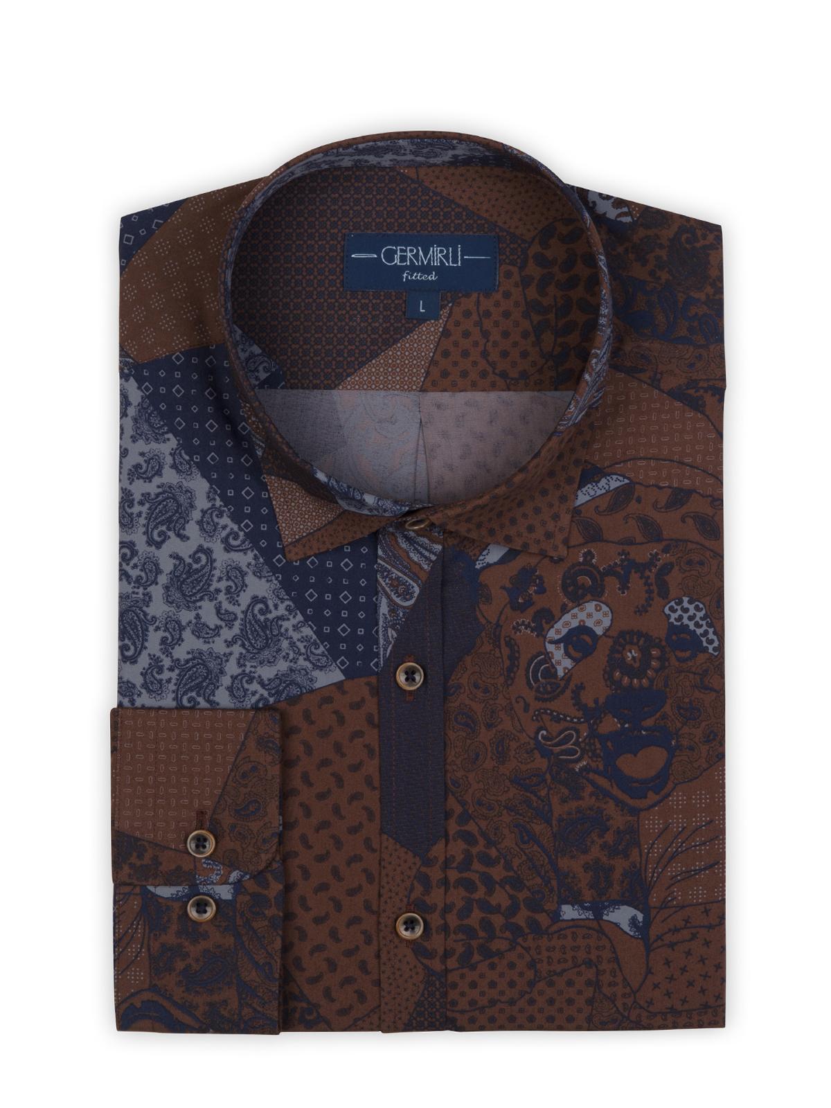 Germirli Kahverengi Lacivert Patchwork Desenli Klasik Yaka Tailor Fit Gömlek