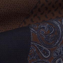 Germirli Kahverengi Lacivert Patchwork Desenli Klasik Yaka Tailor Fit Gömlek - Thumbnail