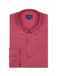 Germirli Kiremit Delave Keten Düğmeli Yaka Tailor Fit Gömlek - Thumbnail