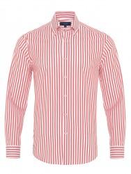 Germirli - Germirli Kiremit Kırmızı Beyaz Çizgili Düğmeli Yaka Tailor Fit Yoga Gömlek