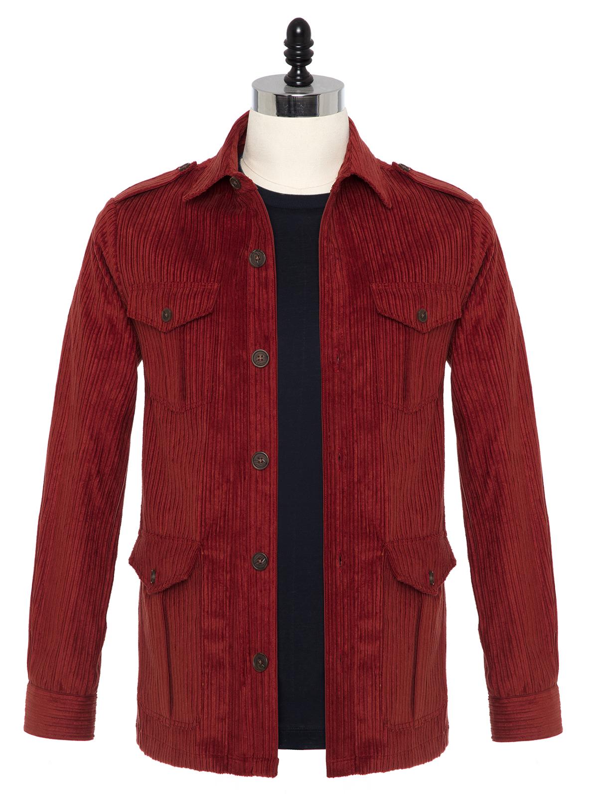 Germirli - Germirli Kiremit Kırmızı Kalın Fitilli Tailor Fit Ceket Gömlek