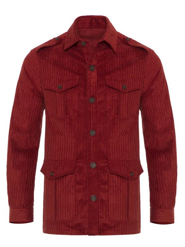 Germirli - Germirli Kiremit Kırmızı Kalın Fitilli Tailor Fit Ceket Gömlek (1)