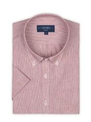 Germirli - Germirli Kiremit Kırmızısı Beyaz Çizgili Keten Pamuk Kısa Kollu Düğmeli Yaka Tailor Fit Gömlek (1)