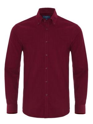 Germirli - Germirli Kiremit Kırmızısı Kadife Düğmeli Yaka Tailor Fit Gömlek