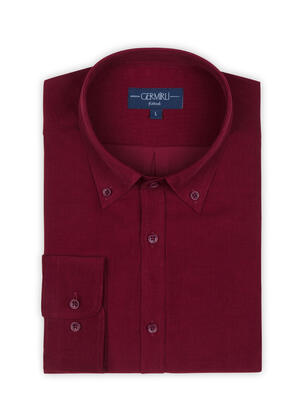 Germirli - Germirli Kiremit Kırmızısı Kadife Düğmeli Yaka Tailor Fit Gömlek (1)