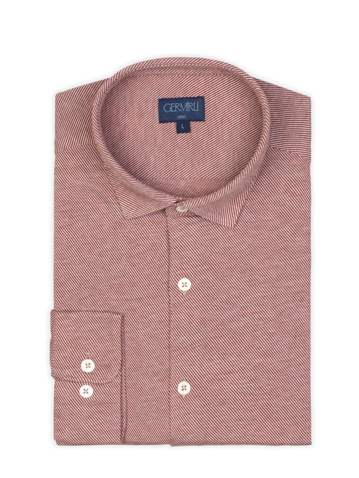 Germirli Kiremit Twill Penye Klasik Yaka Örme Slim Fit Gömlek