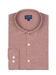 Germirli Kiremit Twill Penye Klasik Yaka Örme Slim Fit Gömlek - Thumbnail