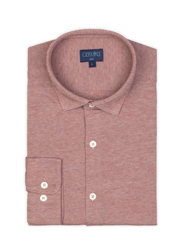 Germirli - Germirli Kiremit Twill Penye Klasik Yaka Örme Slim Fit Gömlek (1)