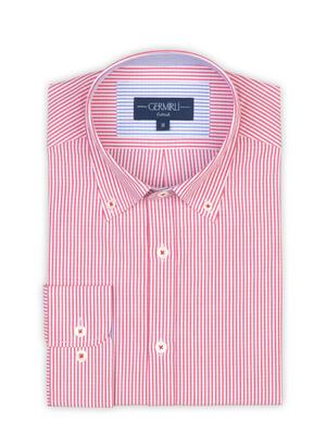 Germirli - Germirli Kırmızı Beyaz Çizgili Düğmeli Yaka Tailor Fit Gömlek (1)