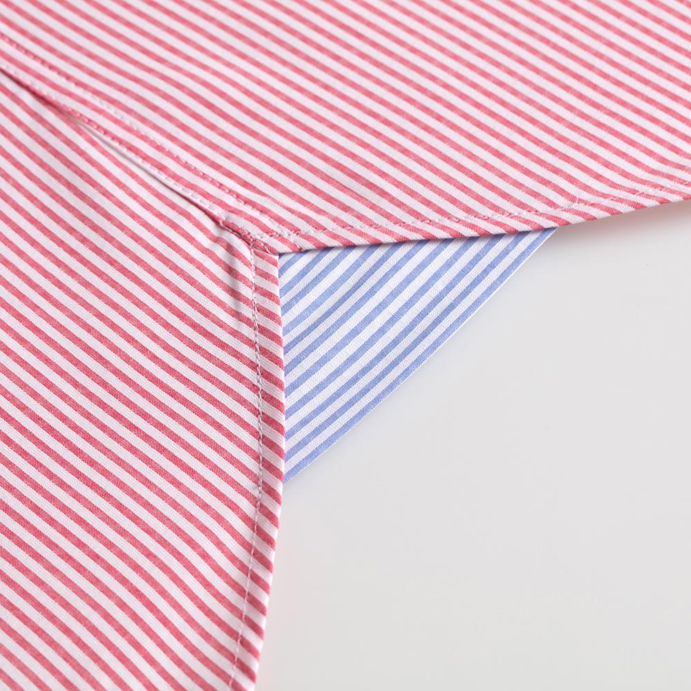 Germirli Kırmızı Beyaz Çizgili Düğmeli Yaka Tailor Fit Gömlek