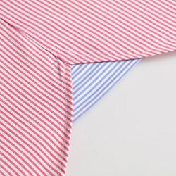 Germirli Kırmızı Beyaz Çizgili Düğmeli Yaka Tailor Fit Gömlek - Thumbnail