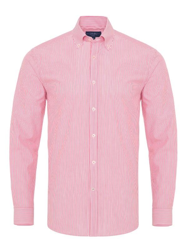 Germirli Kırmızı Beyaz İnce Çizgili Düğmeli Yaka Tailor Fit Gömlek
