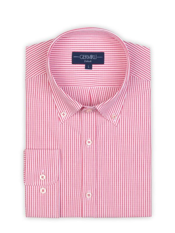 Germirli - Germirli Kırmızı Beyaz İnce Çizgili Düğmeli Yaka Tailor Fit Gömlek (1)