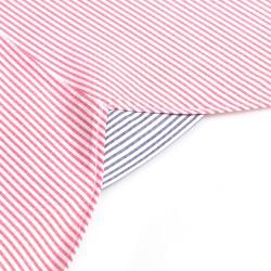 Germirli Kırmızı Beyaz İnce Çizgili Düğmeli Yaka Tailor Fit Gömlek - Thumbnail