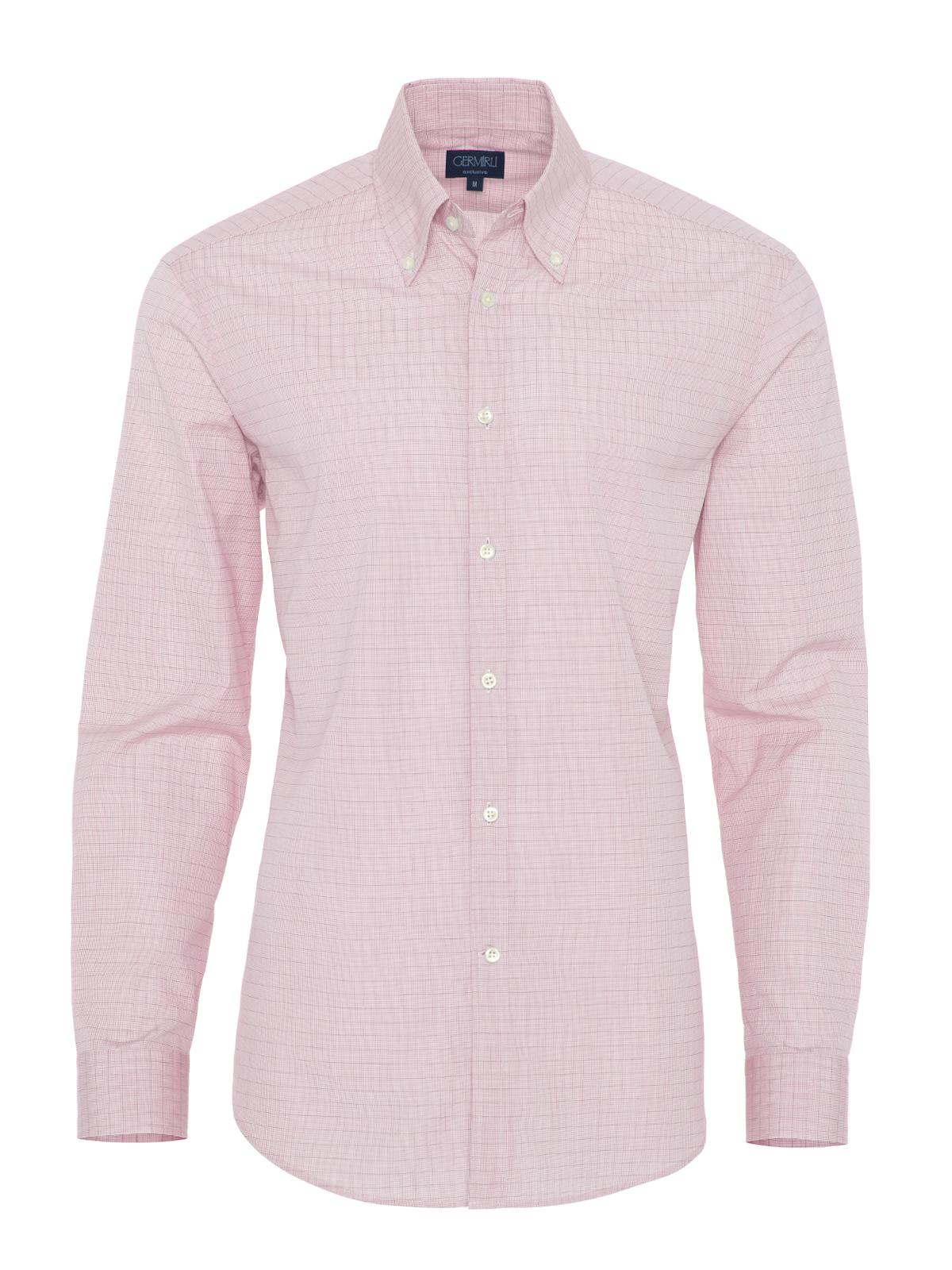 Germirli Kırmızı Beyaz Kareli Tailor Fit Gömlek