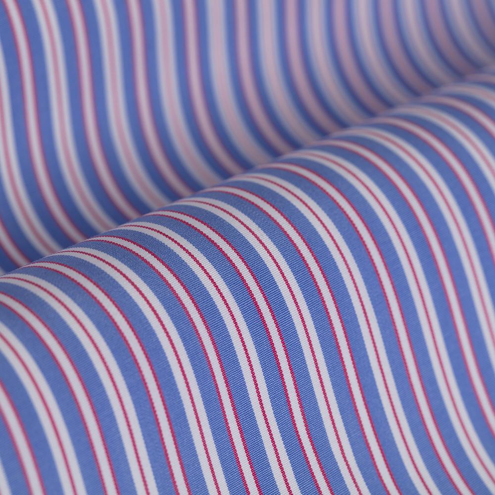 Germirli Kırmızı Beyaz Mavi Çizgili Düğmeli Yaka Tailor Fit Gömlek