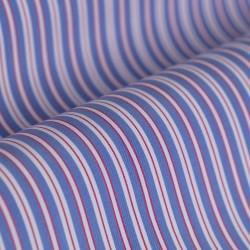 Germirli Kırmızı Beyaz Mavi Çizgili Düğmeli Yaka Tailor Fit Gömlek - Thumbnail