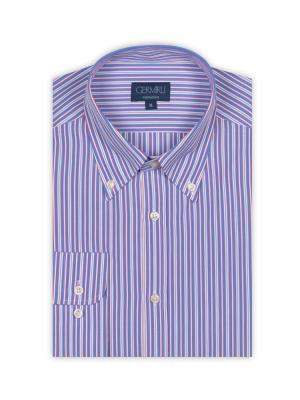 Germirli - Germirli Kırmızı Beyaz Mavi Çizgili Düğmeli Yaka Tailor Fit Gömlek (1)