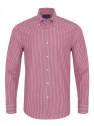 Germirli - Germirli Kırmızı Çizgili Düğmeli Yaka Tailor Fit Gömlek