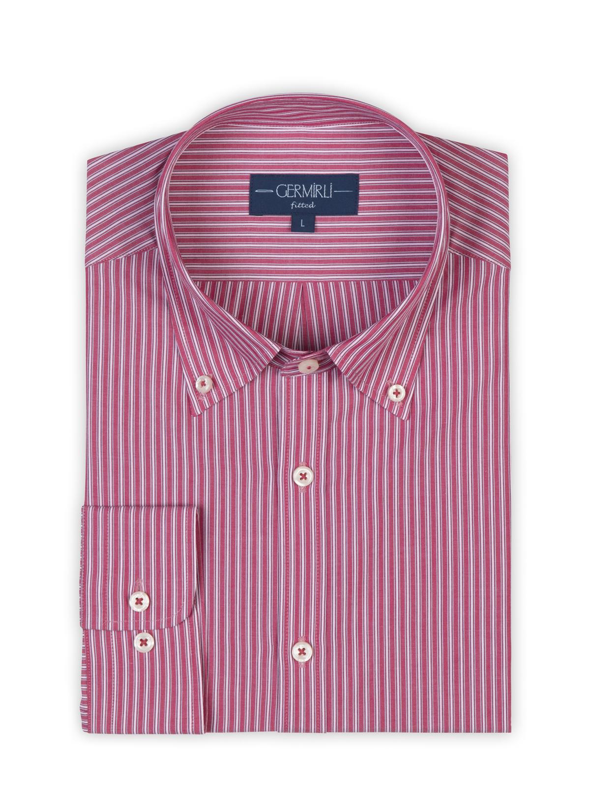 Germirli Kırmızı Çizgili Düğmeli Yaka Tailor Fit Gömlek