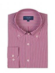 Germirli - Germirli Kırmızı Çizgili Düğmeli Yaka Tailor Fit Gömlek (1)