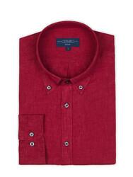Germirli Kırmızı Delave Keten Düğmeli Yaka Tailor Fit Gömlek - Thumbnail
