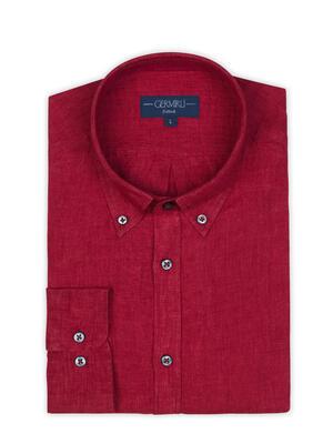 Germirli - Germirli Kırmızı Delave Keten Düğmeli Yaka Tailor Fit Gömlek (1)