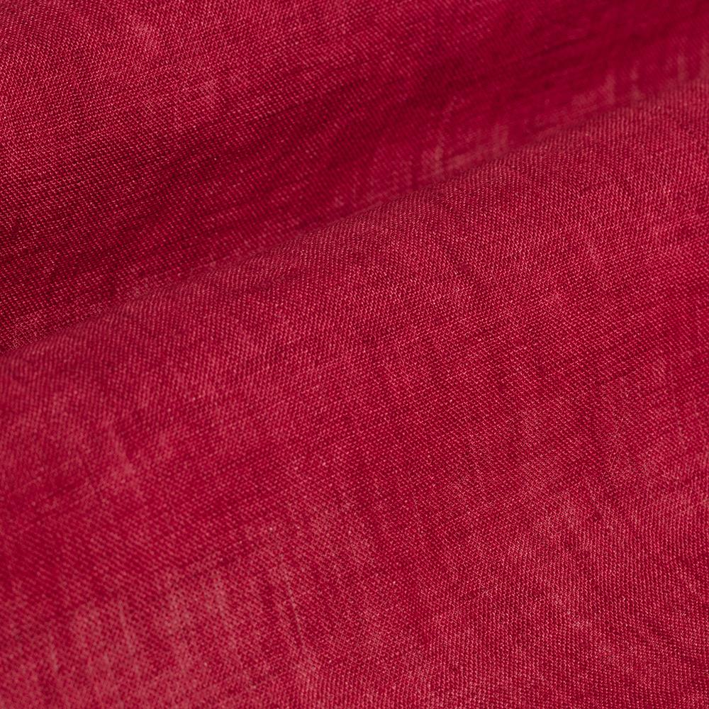 Germirli Kırmızı Delave Keten Düğmeli Yaka Tailor Fit Gömlek