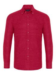 Germirli Kırmızı Keten Flanel Doku Düğmeli Yaka Tailor Fit Gömlek - Thumbnail