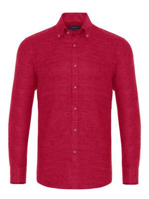 Germirli - Germirli Kırmızı Keten Flanel Doku Düğmeli Yaka Tailor Fit Gömlek