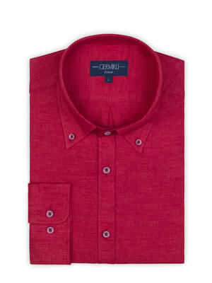 Germirli - Germirli Kırmızı Keten Flanel Doku Düğmeli Yaka Tailor Fit Gömlek (1)